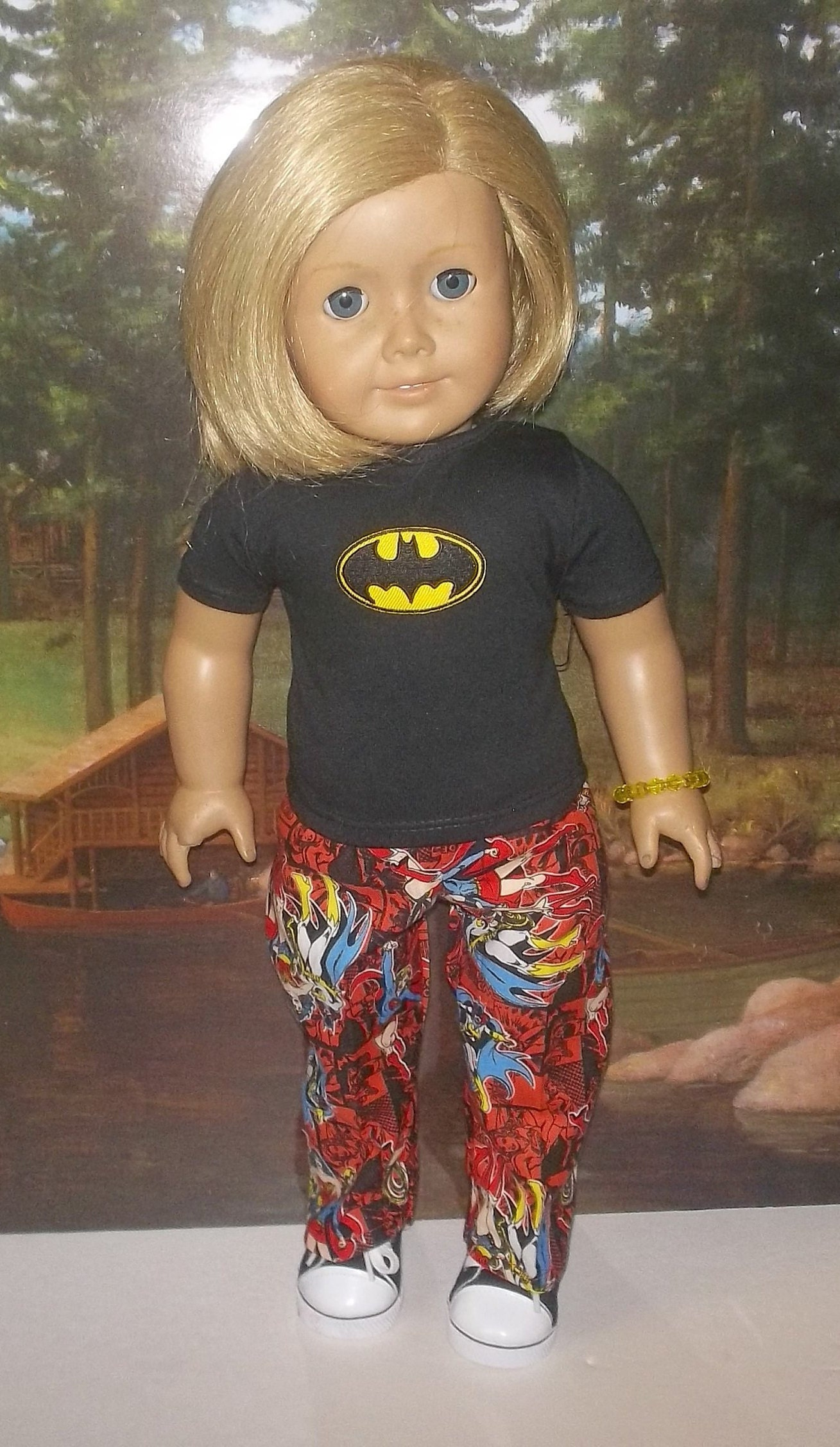 5ba05c6a0 Wonder Woman batgirl and super girl pants and top set shoes fits 18 American  girl DC comics GIRL POWER !!!