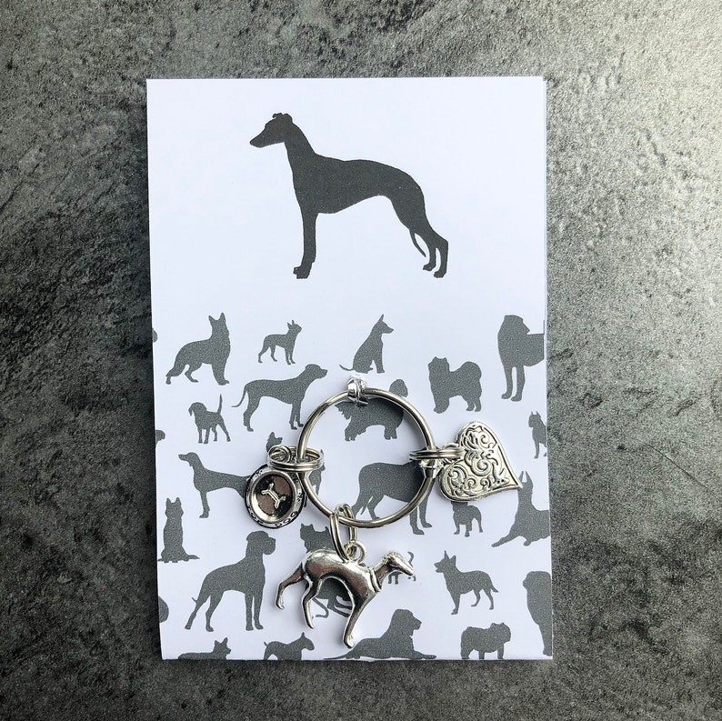 Whippet Dog Art Pendant Brooch Keyring Jewellery