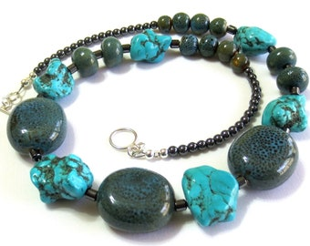 Men's Turquoise Necklace/ Chunky Magnesite & Ceramic Beads/ Statement Necklace/ Boho Southwestern Necklace/ Boyfriend Gift