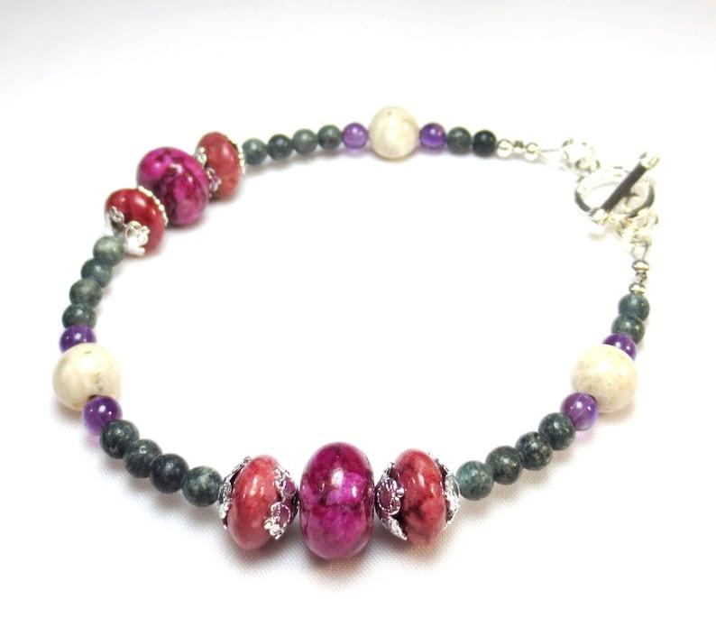 Amethyst 20/% OFF SALE Pink /& Green Gemstone Bracelet Mauve Fuchsia Jasper River Rock Serpentine Large or Small Bracelet Mom Gift Girl