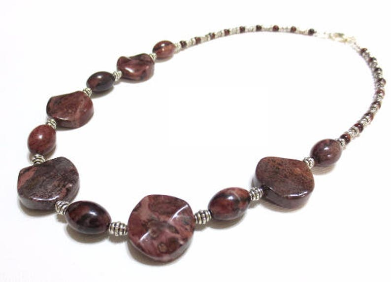 20/% OFF SALE Sterling Silver Jasper Necklace Brown Agate Adjustable Statement Necklace Fluted Coin Beads