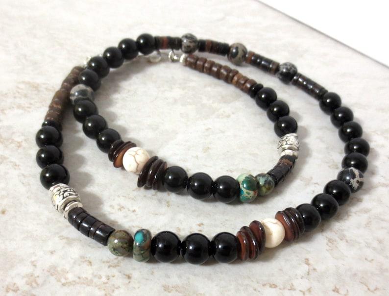 20/% OFF SALE Men/'s Black Onyx Choker Brown Shell Heishi Variegated Stone Hippie Bohemian Jewelry 20-Inch Beaded Choker