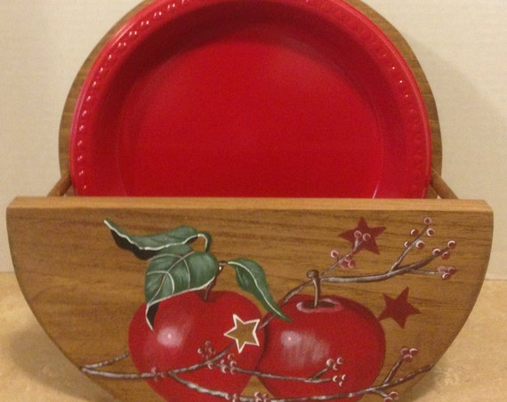 Paper Plate Holder Apple Decor Apple Kitchen Decor Apple Kitchen Country Decor Red Apple Decor Hand Painted Apples Holder for plates Apples