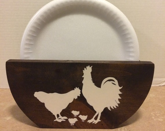 Paper Plate Holder Holder for Plates Paper Plate Storage Rustic Farmhouse Rustic Decor Chicken Decor Country Decor Farmhouse Decor