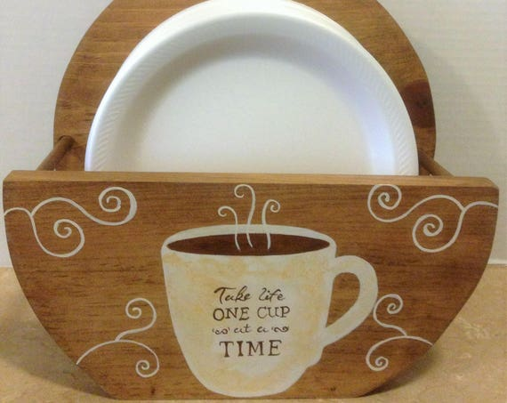 Paper Plate Holder  Coffee Decor  Coffee Theme  Bistro Theme Coffee Kitchen Decor  Wooden Plate Holder  Coffee Lover Coffee Gift, Coffee