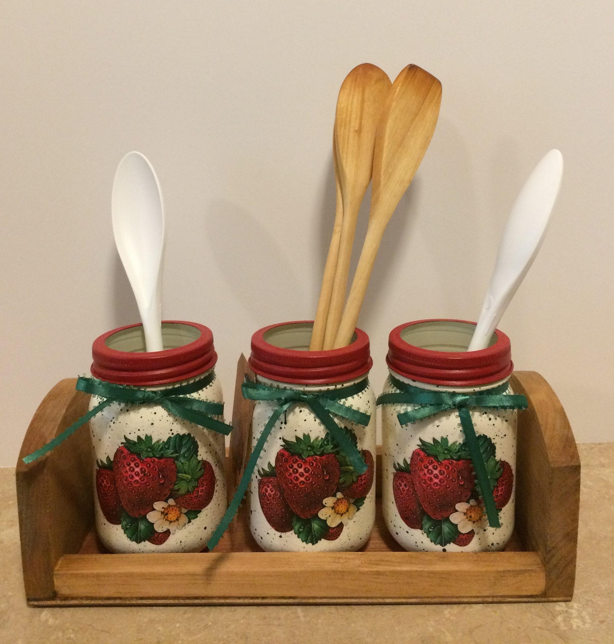Mason Jar Utensil Holders Strawbery Kitchen Decor Strawberry Christmas Gift Country Decoupaged Jars