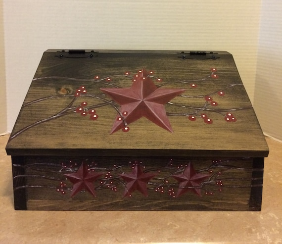 Bread Box Wooden Bread Box Primitive Rustic Bread Box Rustic Decor Farmhouse Decor Farmhouse Kitchen Country Decor Primitive Star Berry Vine
