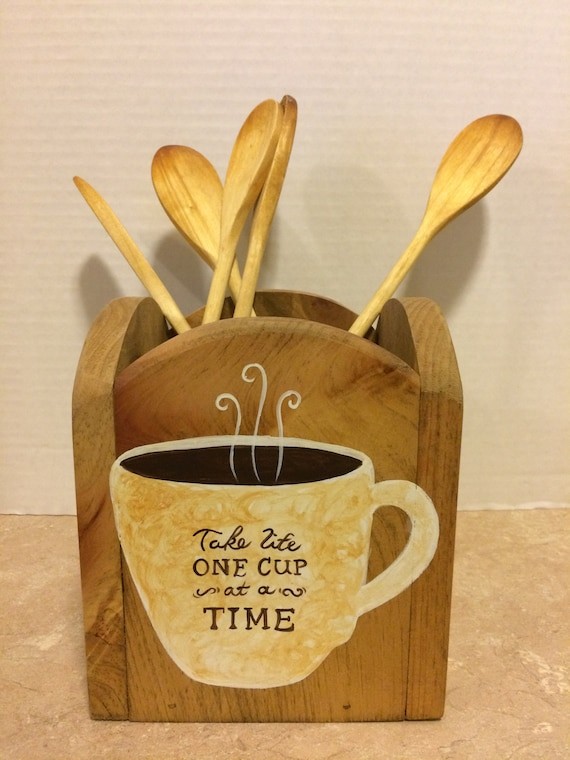 Utensil Holder, Kitchen Utensil Holder, Holder for Utensils, Coffee Decor, Coffee Theme, Coffee Kitchen, Farmhouse Kitchen, Rustic Decor