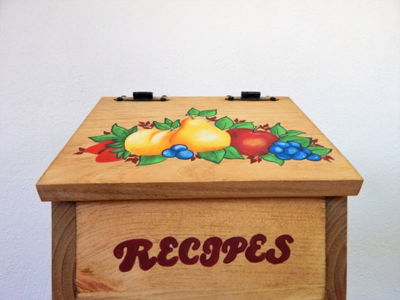 recipe box,fruit decor, fruit painting,wooden recipe box,recipe storage,mothers day gift,box for recipes,hand painted fruit,kitchen storage