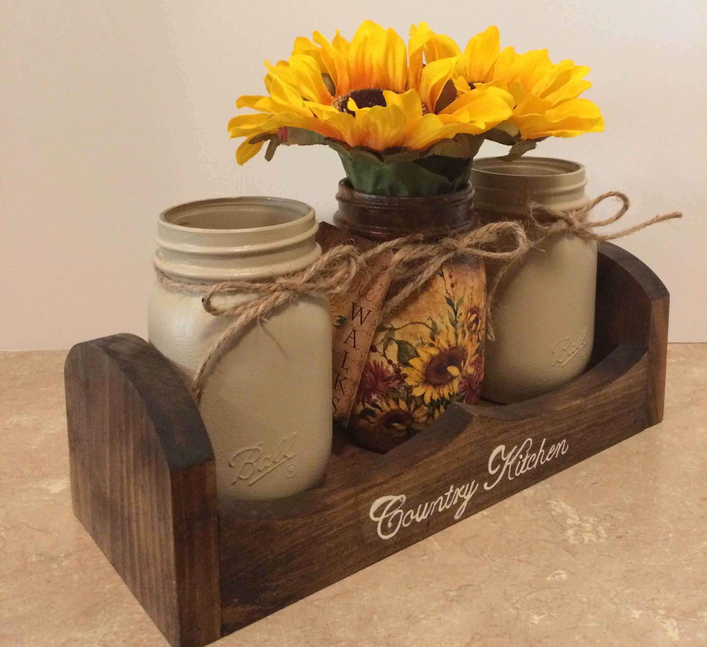 Kitchen Utensil Holder,Mason Jar Decor,Sunflower Decor ...