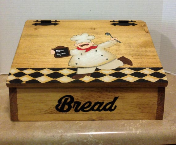 Bread Box  Chef Decor  Wooden Bread Box  Chef Kitchen Decor  Country Decor  Chef Theme  Kitchen Bread Box  Kitchen Decor Christmas Gift