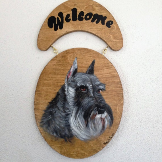 Welcome Sign,Schnauzer Sign,Schnauzer Door Sign,Schnauzer Welcome Sign,Sign for door,Schnauzer Painting,Custom Dog Painting,Hand Painted