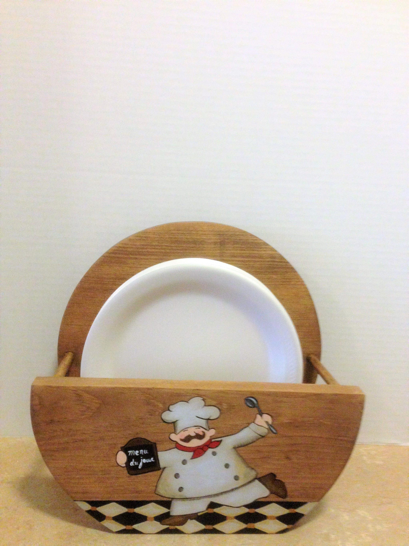 Paper Plate Holder Chef Decor Chef Kitchen Decor Wooden Plate