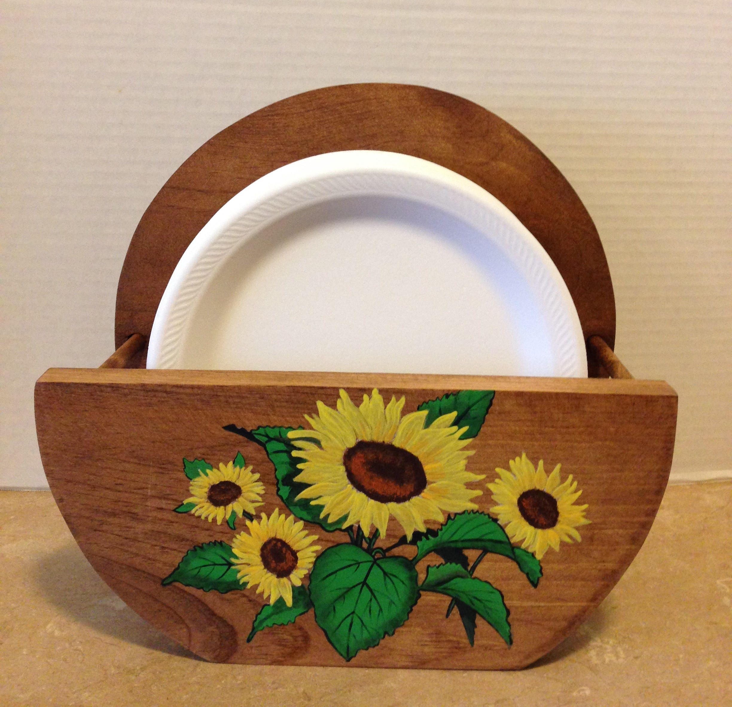 Paper Plate Holder Wooden Plate Holder Holder for Plates Sunflower Decor Sunflowers Sunflower Kitchen Country Decor Hand painted & Paper Plate Holder Wooden Plate Holder Holder for Plates ...