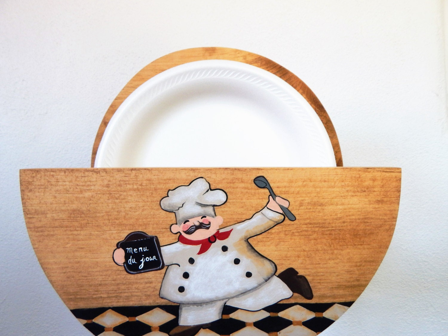 Paper Plate Holder Wooden Chef Kitchen Decor Storage Plates Fat Home