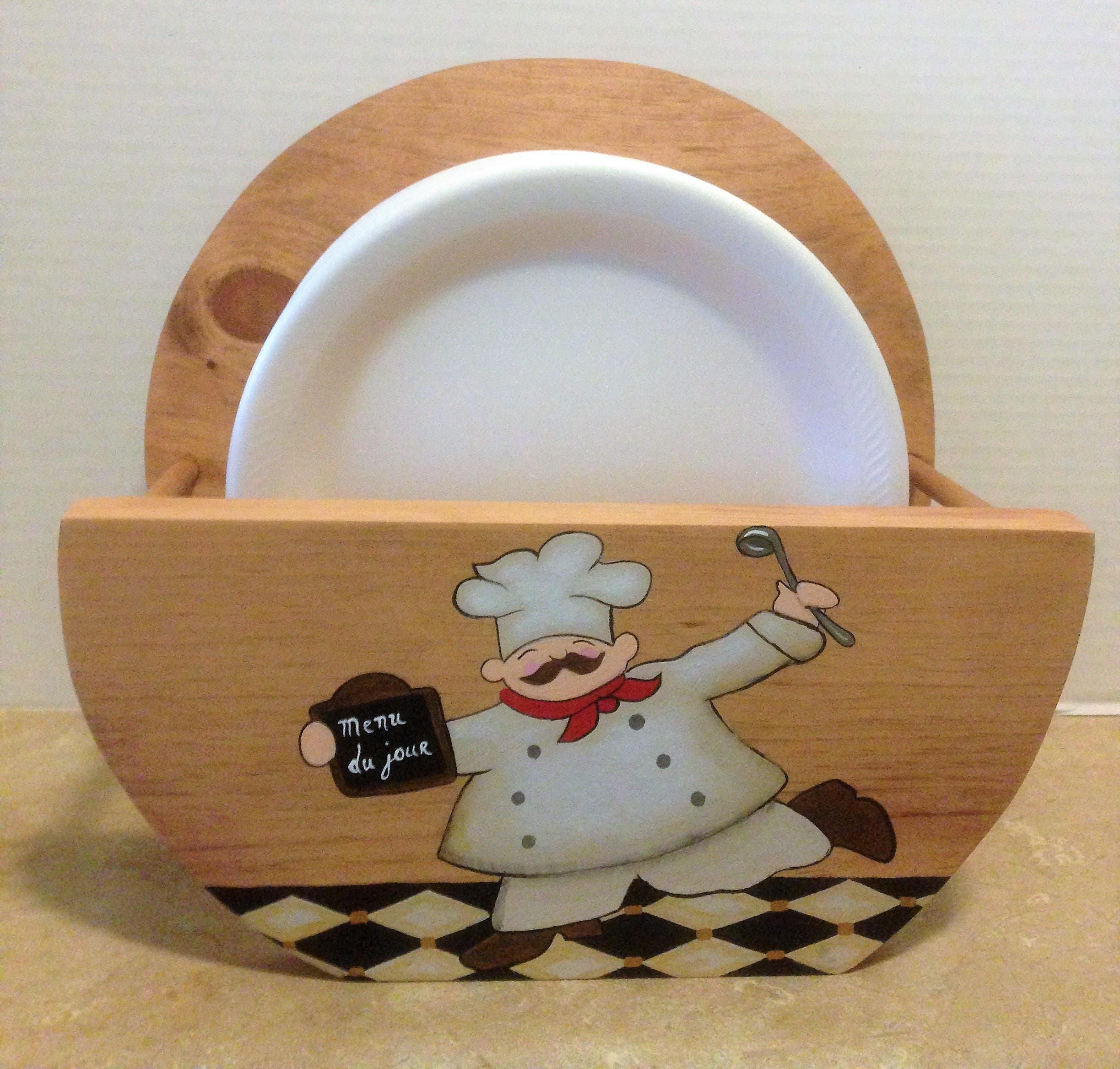Paper plate holder chef decor chef kitchen decor holder for plates wooden plate holder chef theme chef kitchen theme plate storage