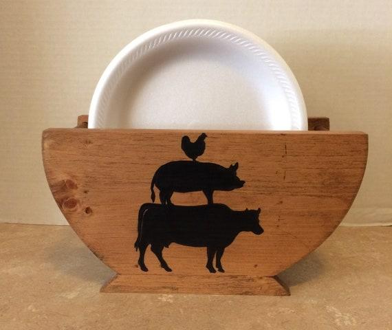 Paper Plate Holder, Farmhouse Decor, Farmhouse style, Farmhouse Kitchen, Wooden Plate Holder, Rustic Farmhouse Decor, Farm Animal Silhouette