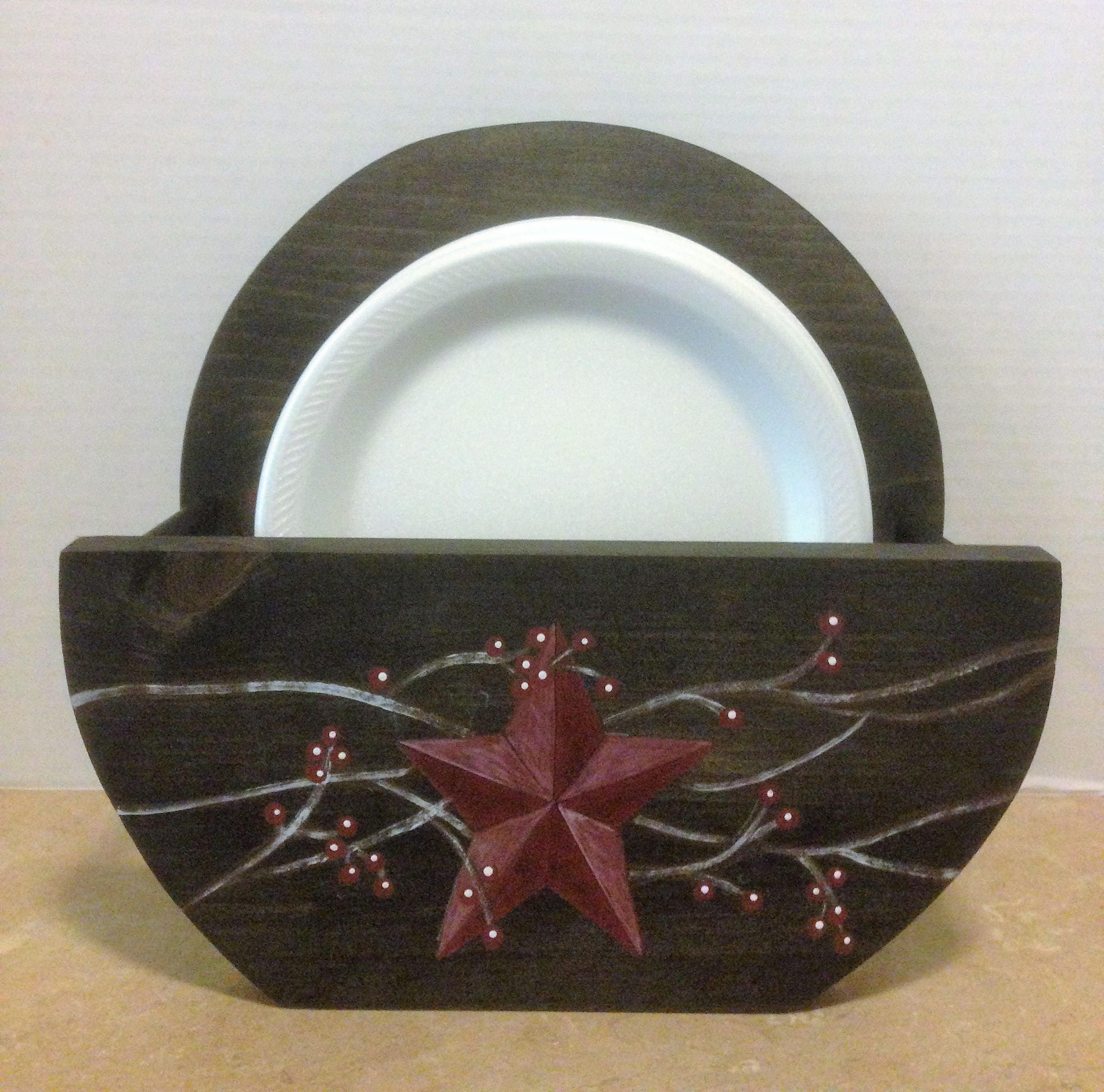 paper plate holder primitive plate holder rustic kitchen decor ...
