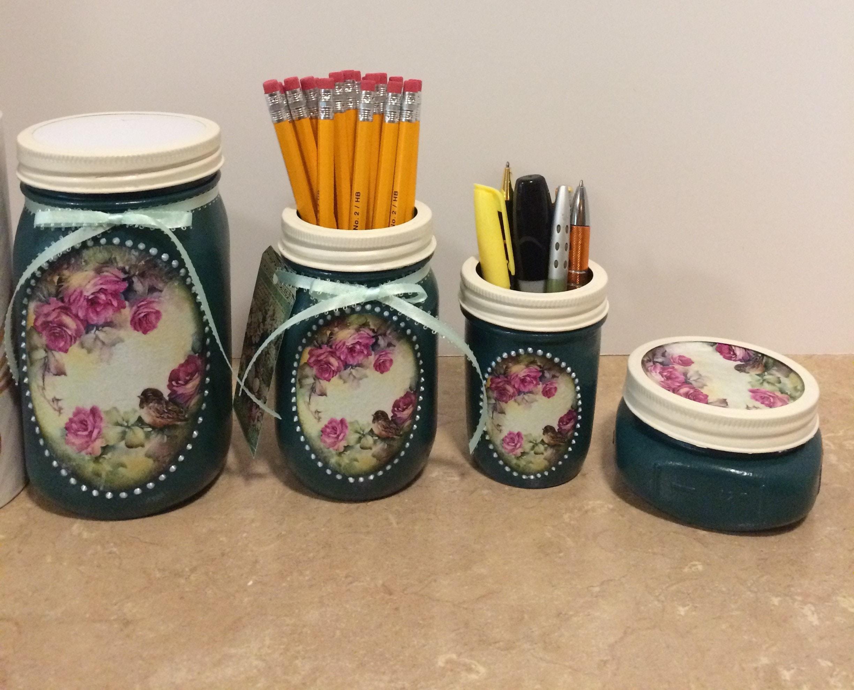 Mason Jar Bathroom Set Mason Jar Desk Set Mason Jar