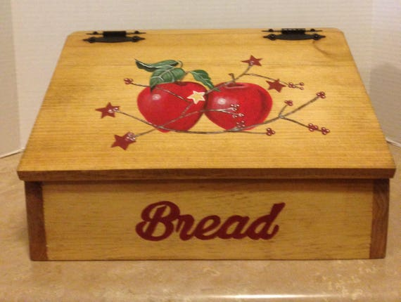 Bread Box Apple Decor Apple Kitchen Decor Primitive apples Country Decor Wooden Bread Box Box for bread Red Apple Decor Apple Themed Kitchen