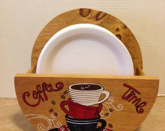 Paper Plate Holder Coffee Theme Coffee Decor Coffee Lovers Gift Bistro Decor Coffee Kitchen Theme Coffee Kitchen Holder for Plates & paper plate holderprimitive plate holderrustic kitchen