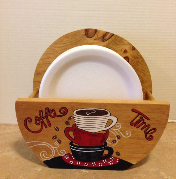Paper Plate Holder Coffee Theme  Coffee Decor Coffee Lovers Gift  Bistro Decor  Coffee Kitchen Theme  Coffee Kitchen  Holder for Plates