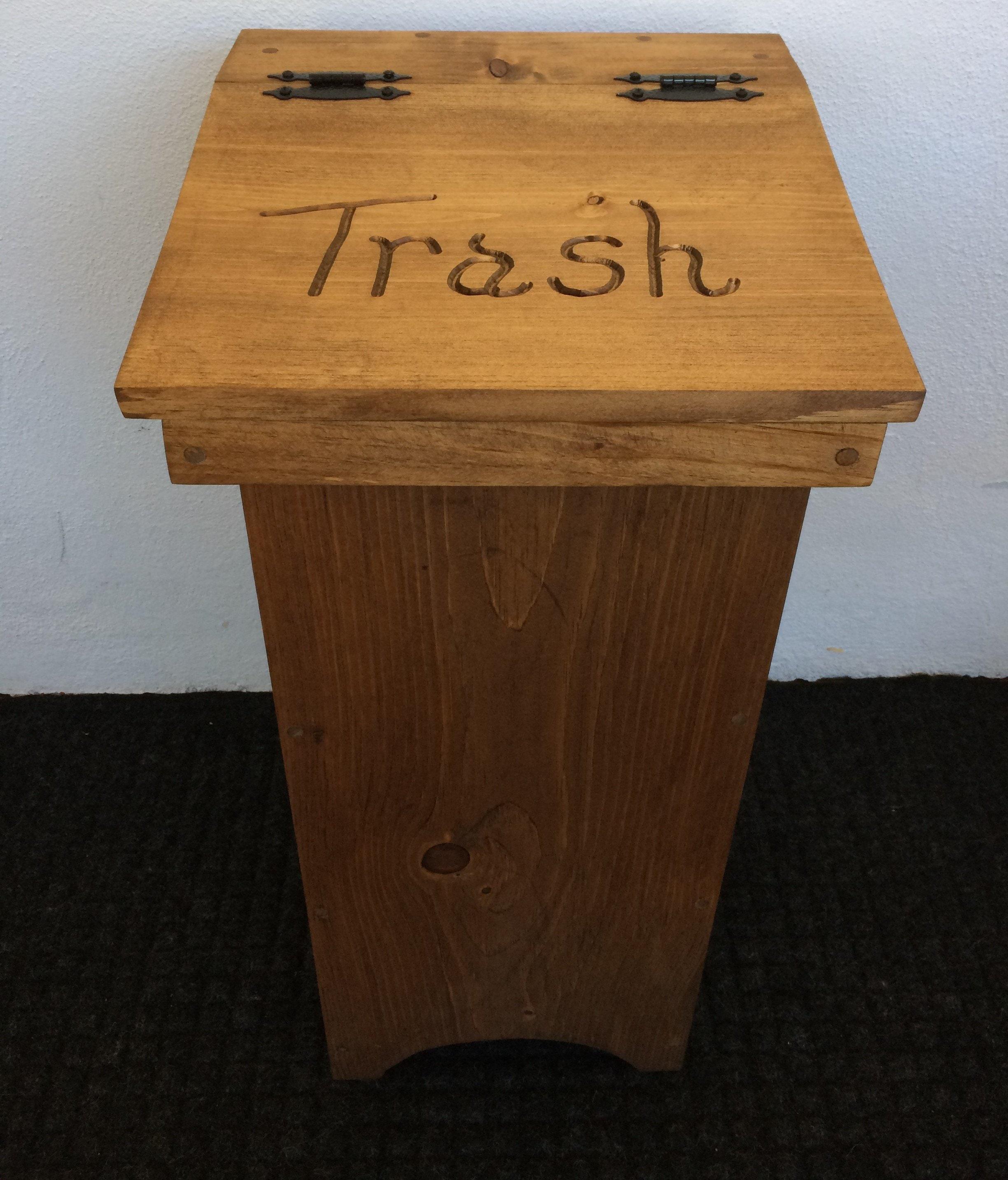 Wooden Trash Container Wooden Trash Bin Handmade Trash Bin