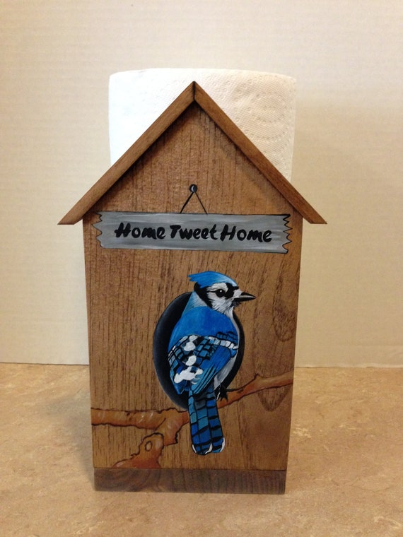 Paper Towel Holder, Birdhouse Decor,Gift for her, Country Decor, Bluejay Decor, Gift for bird lovers, bird lovers gift, Kitchen Decor