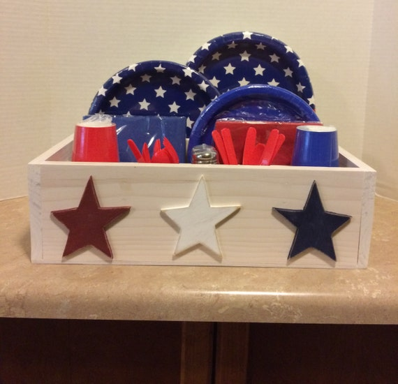 Table caddy, Picnic Caddy, Kitchen Caddy, Americana Decor, Housewarming gift, Tableware Caddy, Utensil Caddy, Utensil Holder, Americana