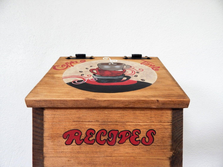 Recipe Box Wooden Recipe Box Coffee Decor Coffee Kitchen