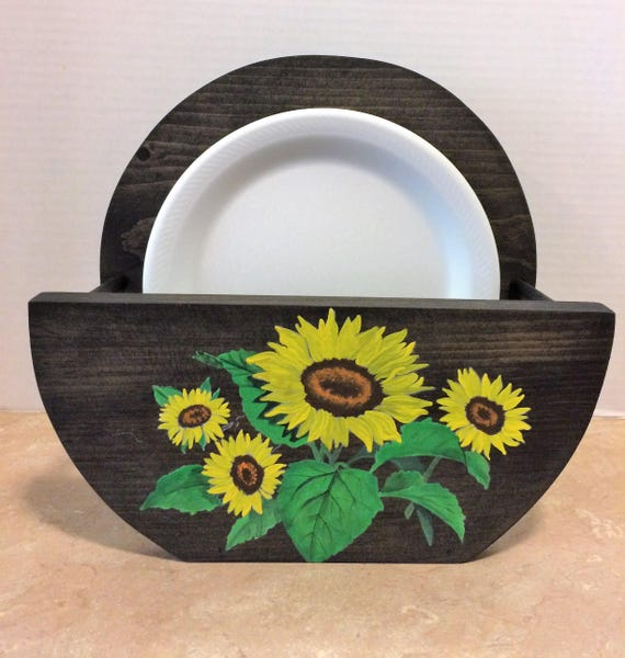 Paper Plate Holder Paper Plate Holders Sunflower Kitchen Decor Painted Sunflowers Wooden Plate Holder Holder for Plates Sunflowers Decor
