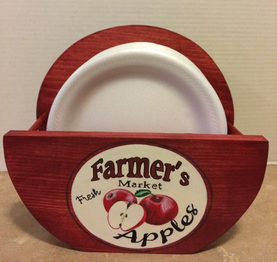 paper plate holder paper plate holders storage for plates apple kitchen decor red apple decor farmhouse decor apple art apple gifts