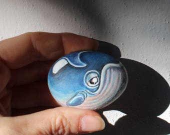 Whale No.3  Handpainted rock painting, painted stone. miniature, ocean, sea             rock pebble fine art