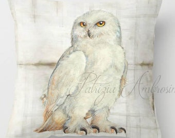 "Throw Pillow Cover with pillow insert Indoor."""" SNOWOWL """"  - animal  - woodland art - fine - living  - childrens  - nursery - babies -owl"