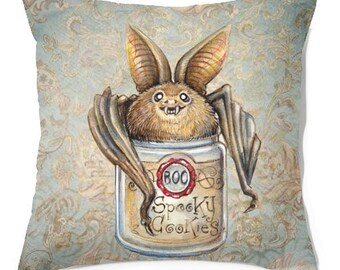 Pillow .Bat Cookies  .PRINT art.. animal art - woodland art - fine art -living room - childrens room - nursery - babies - cookies