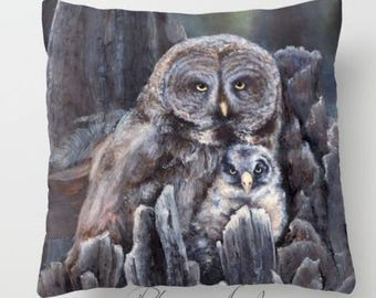 "Pillow  "" WOOD - OWLs "" PRINT art.. animal art - woodland - fine art -living room - childrens room - nursery - babies - """" Moon owl"""""