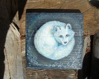 "Art Block handpainted - 4.5x4.5"" - on Wood - White fox -arctic fox - Foxy - ORIGINAL Painting collectible"