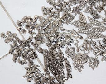 Mix Bag of Antique Silver Charms, Bulk Sale Destash 100+ Silver Charms