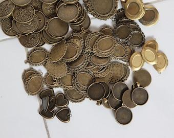 Bulk Antique Brass Cabochon Pendant Setting - Mix Bag 1kg Blank Pendant Tray Vintage Locket Craft Supply Destash
