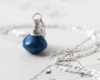 Blue Gemstone Necklace, Chrysocolla Wire Wrapped in Sterling Silver