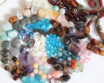 HUGE Semi Precious Gemstone Beads Destash, Gemstones Mix Bag