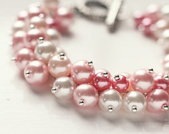 Light Pastel Pink Color Bridesmaids Jewelry Pearl Cluster Bracelet - Sweet Dreams