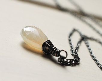 Pearl Chalcedony Oxidized Sterling Silver Necklace - Purity, Gemstone Wire Wrapped Necklace