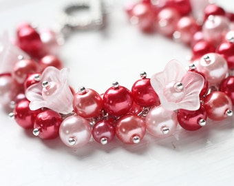 Red Bridesmaid Jewelry Pearl Cluster Bracelet - Flowers of Passion