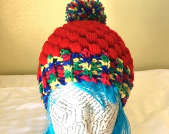 Red/Multi-color-Puff Stitch Crocheted Beanie with Pom Pom, Child/Teenage/Adult Beanie