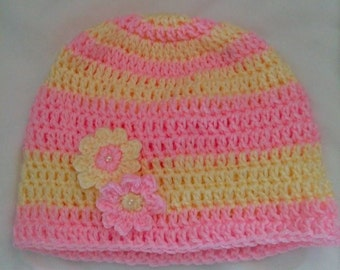Flower Power Pink and Yellow Beanie-Adult