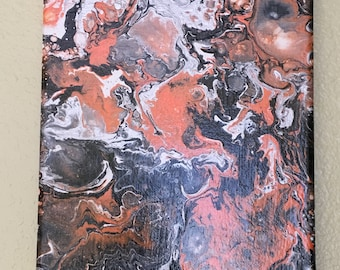 Orange Dream-Acrylic Pour Painting 7 x 9.5- One of A Kind-Original-Fluid Art-REDUCED/CLEARANCE