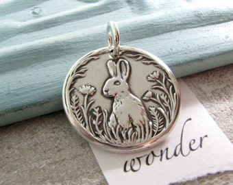Wonder, Personalized Fine Silver Rabbit and Flowers Pendant, Hare, Handmade in Recycled Silver From Original Carving, by SilverWishes