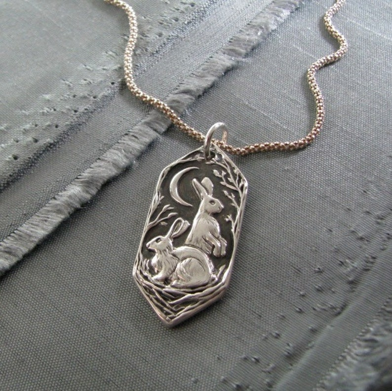 Listen to the Moon Personalized Fine Silver Rabbit Pendant image 0