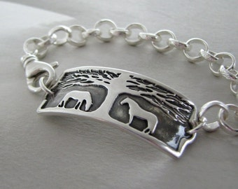 Horse Bracelet, Horse Jewelry, Handmade Link with Chunky Textured Silver Chain, by Silverwishes, Recycled Fine and Sterling Silver